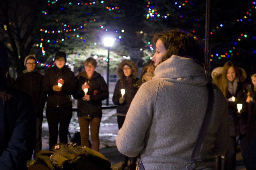 Over two dozen people met at Confederation Park to commemorate trans victims of violence.
