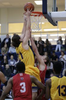 Greg Faulkner averages an OUA-leading 25.3 points per game and is men's basketball only consistent offensive threat.