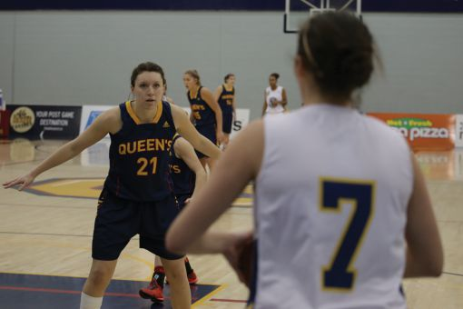 Jenny Wright led all Gaels with 15 points in a 90-34 thumping of the Nipissing Lakers on Friday.