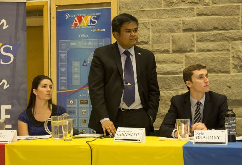 From left: Catherine Wright, Kanivanan Chinniah and Kyle Beaudry, the incoming AMS executive, at Monday's forum in the JDUC.