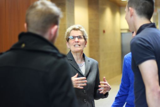 Kathleen Wynne spoke with students during her tour of Queen's on Monday.