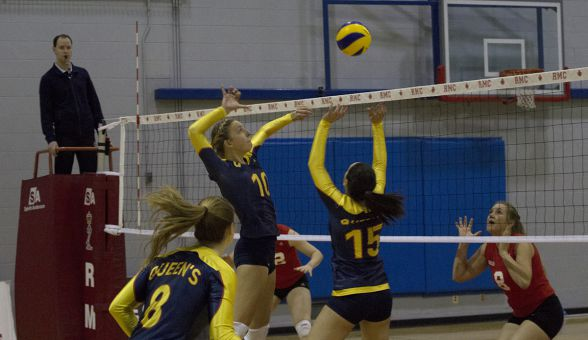 Middle blocker Niki Slikboer led the Gaels with 10 kills against the RMC Paladins. She also added three digs and a block.