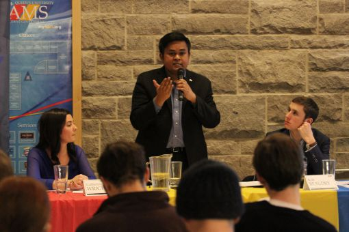 From left: Catherine Wright, Kanivanan Chinniah and Kyle Beaudry. The team took questions in person and via social media at the second of two public forums on their platform.