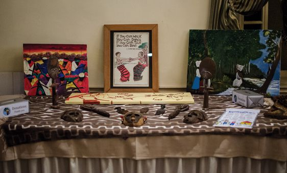 A display of Afro-Caribe art at the ceremony.
