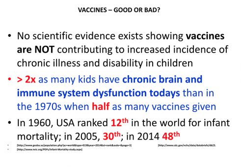 A slide from Melody Torcolacci's lecture on vaccines. The slide cites the National Vaccine Information Center, an American anti-vaccine advocacy group.