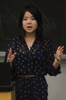 Peer Support Centre Director Cara Chen speaking at the AuthenticallyU talk on Wednesday.