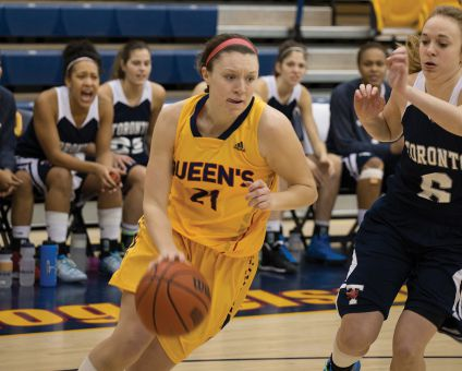 Fourth-year guard Jenny Wright led the Gaels in the regular season with 13.8 points per game. She's averaging 15 points in the playoffs after dropping 24 points on the Laurier Golden Hawks last Saturday.