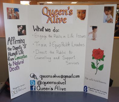 Queen's Alive's poster at their Mac-Corry booth.