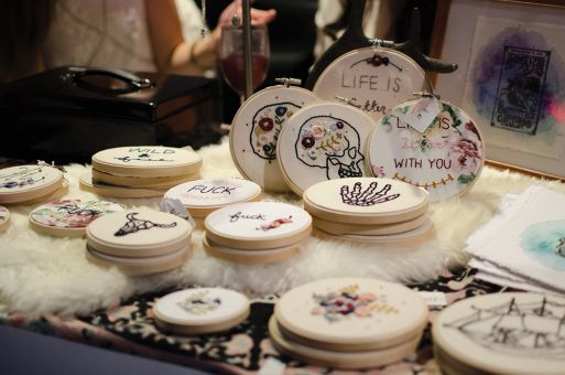 The event featured many mediums of art, including embroidery.