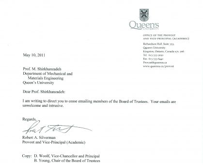Letter from Provost and Vice-Principal Robert A. Silverman to Dr. Morteza Shirkhanzadeh, with Principal Daniel Woolf and Bill Young, chair of the Board of Trustees, copied.