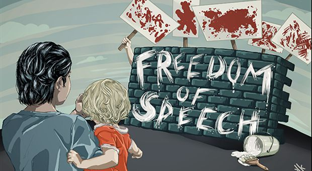"Protesters hidng behind a wall labeled ""Freedom of Speech"" hold up bloody signs towards a mother and a child. The mother covers her child's eyes."