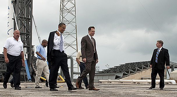 Elon Musk gives a tour for President Barack Obama.