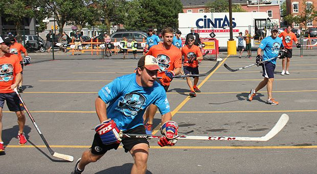 Darcy Greenaway (pictured) asked former teammates to participate in the Charity Ball Hockey Tournament.