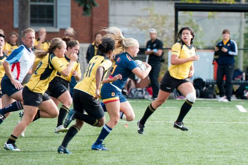 Karley Heyman (middle) was an OUA All-Star and Rookie of the Year during her time as a member of the women's rugby team prior to her first concussion.