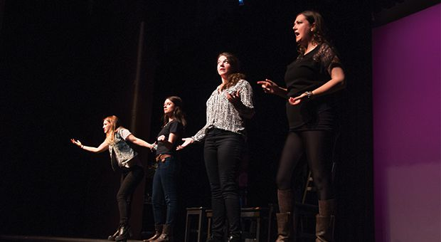 The four-piece cast of She Said What onstage.