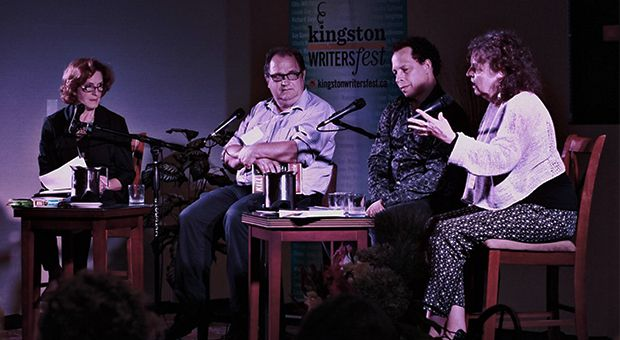 From left: Carol Off speaks with writers Mark Bourrie, Lawrence Hill and Marion Botsford Fraser about freedom to write about social issues in Canada.
