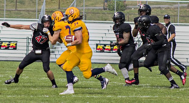 Jesse Andrews (#34) leads the country with 738 rushing yards.