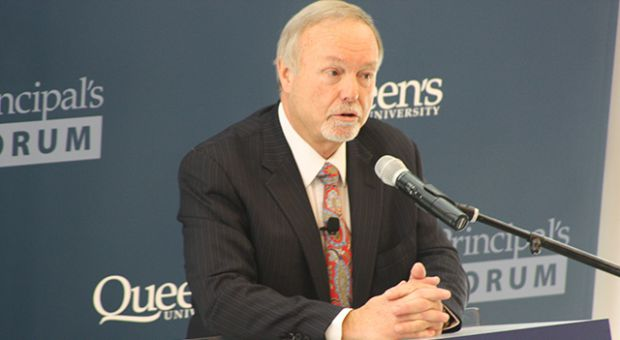 Sir Terry Matthews spoke to an audience of Queen's students and faculty at Goodes Hall on Thursday.