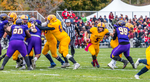 Quarterback Nate Hobbs (#5) threw for 248 yards and a touchdown, but also threw three interceptions on the day.