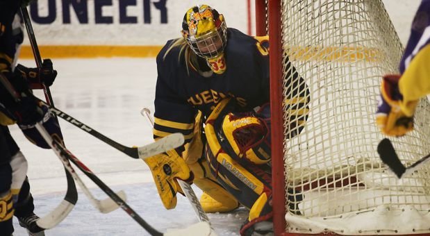 Caitlyn Lahonen made 61 of 63 saves last week, extending the Gaels unbeaten streak to six.