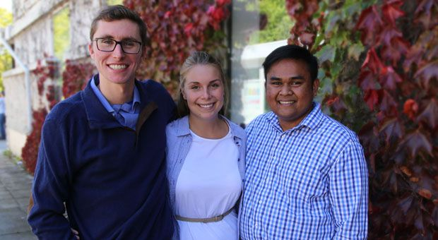 Kyle Beaudry (left), Sarah Letersky (middle) and Kanivanan Chinniah (right) are this year's AMS Executive.