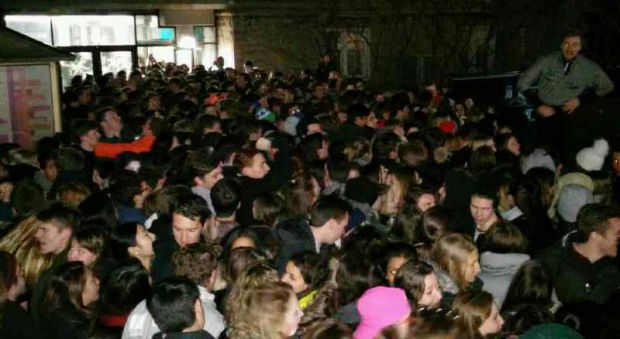 """Massive crowd gathers outside the Underground entrance for the """"I'm a Belieber"""" event on Tuesday."""