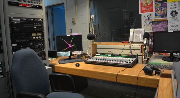 The radio room at CFRC, where all the magic happens.