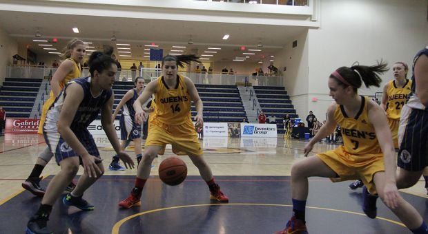 Andrea Priamo (#14) scored seven points and added four rebounds in the loss against McMaster.