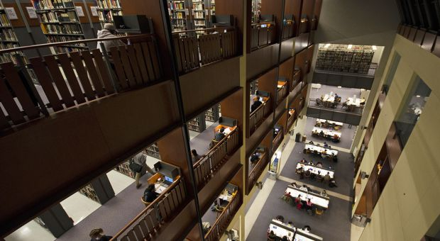 Stauffer Library on campus.
