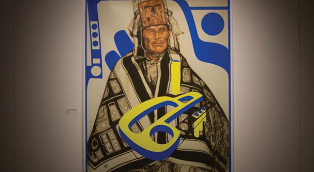 Indigenous artist Sonny Assu uses digital collage and intervention in his work We shall reassert our inherent rights.