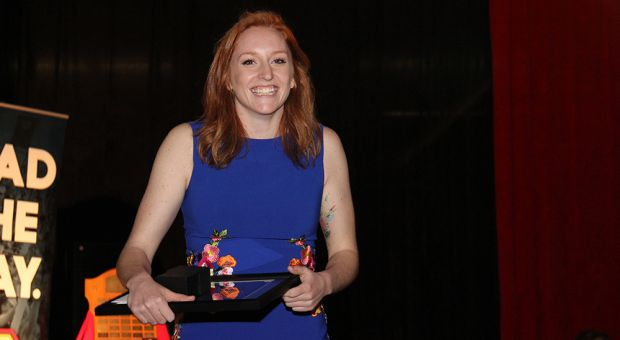 Lauren McEwen was all smiles after women's rugby won the Jim Tait award as team of the year.