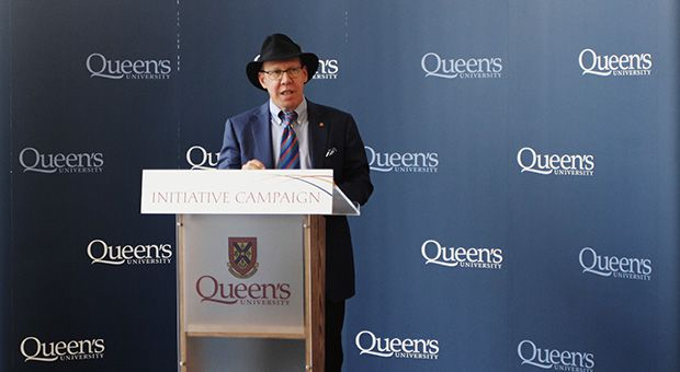 Aubrey Dan gave a speech at the Isabel Bader Centre for the Performing Arts after Queen's announced that he had donated $5 million to the School of Drama & Music.