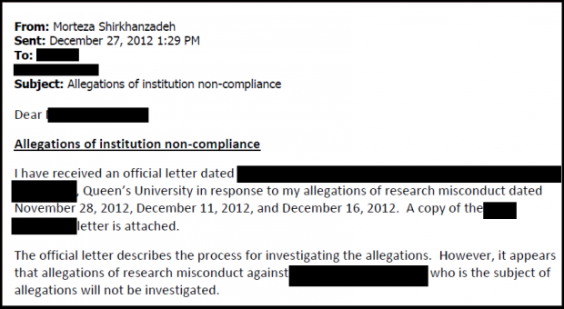 One of Shirkhanzadeh's many allegation documents regarding academic dishonesty and institutional non-compliance.