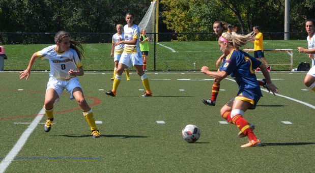 Brittany Almeida (right) attacked the Laurentian defence often in their 2-1 win.
