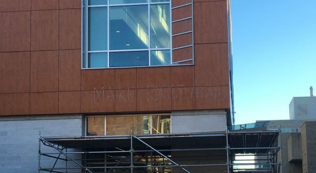 "Vandalism on the ARC discovered Wednesday morning that reads ""make racists afraid""."