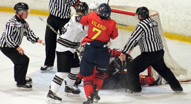 Francesco Vilardi battling in front of the net in the Gaels 6-3 loss against Ottawa.