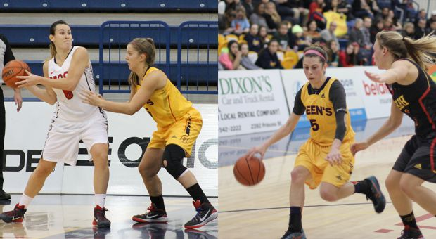 Robyn Pearson (left) and Emily Hazlett (right) on the court.