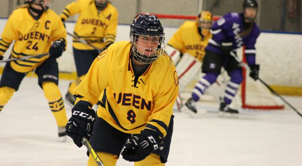 Kyla Crouse on defence for the women's hockey team last year.