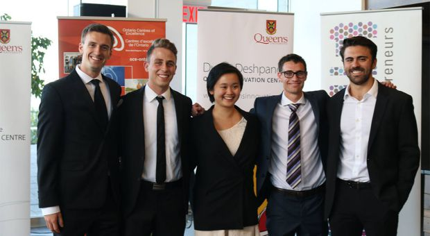 (From left to right) Blair Halenda, Sam Milner, Jennie Teng, Jared Westreich and Victor Mimo won $30,000 for their business venture Fitra Technologies.