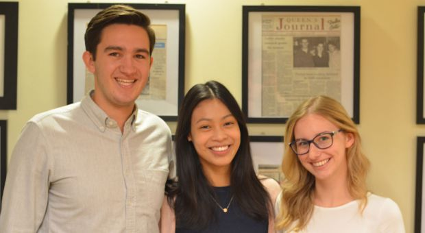 AMS Vice President (University Affairs) Palmer Lockridge (left) and President Jennifer Li (centre) stand with Chelsea Hollidge (right) following her appointment as Vice-President (Operations).