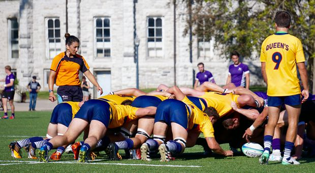 Gaels forwards mulling through a scrum in the first half.