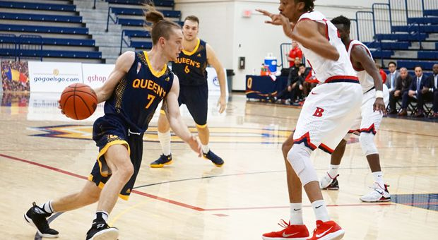 Quinton Gray (left) scored 19 points in Queen's 91-86 loss to Brock.