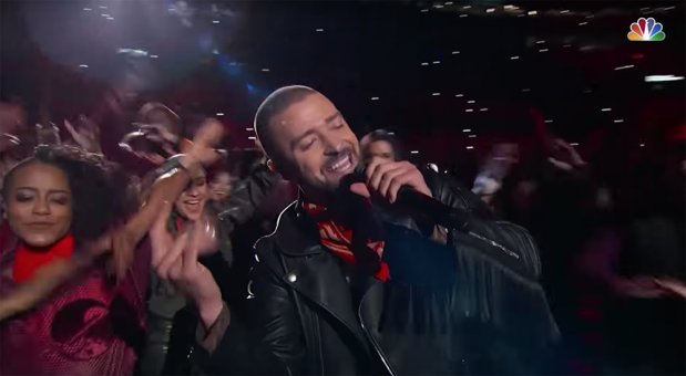 """Justin Timberlake during his Super Bowl performance of """"Can't Stop the Feeling""""."""