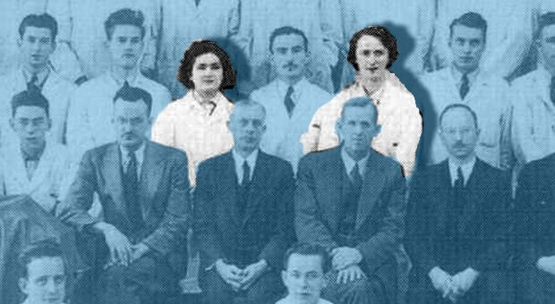 The medical school class of 1948, featuring two women.