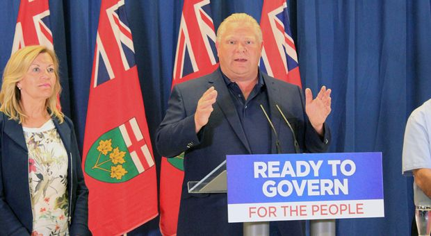 Premier candidate Doug Ford (right) during a press conference at the Legion Royal Branch 560.