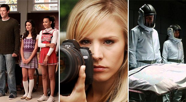 Scenes from Glee, Veronica Mars and Helix.