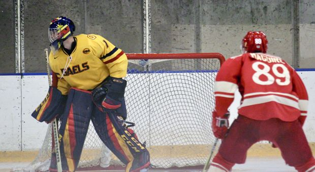 Goaltender Jack Flinn faced 54 shots in the Gaels' 7-1 loss to Brock this weekend.