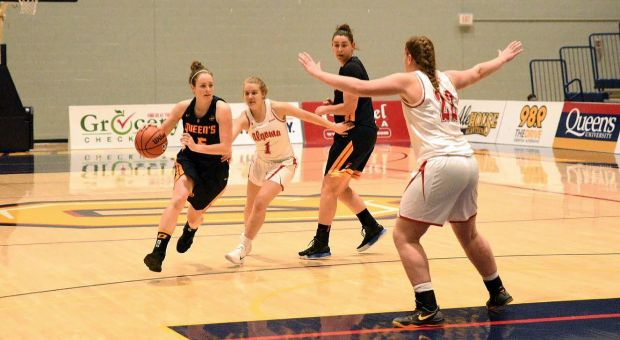 Emma Ritcey (5) drives to the basket against Algoma.
