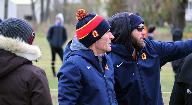 Cross country Head Coach Steve Boyd (left) and Assistant Coach Brant Stachel (right) at November's U Sports Championships.