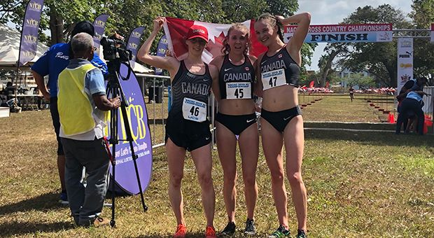 First-year Makenna Fitzgerald (left) finished third in her first career international race.